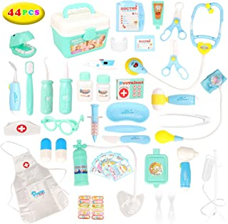 Barwa 44pcs Doctors Kit for Children, Prentent Play Dentist Medical Kit with Electronic Tools and Coat for Kids, Roll Play...