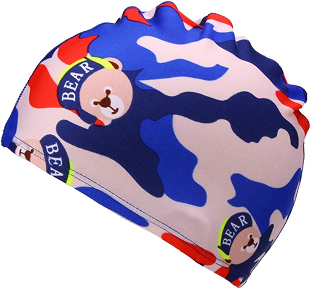 iHHAPY Swim Caps,Swim Hats for Kids Boy Girl Summer Beach Waterproof Swim Cap Cartoon Print Toddler Hat,2-6 Y