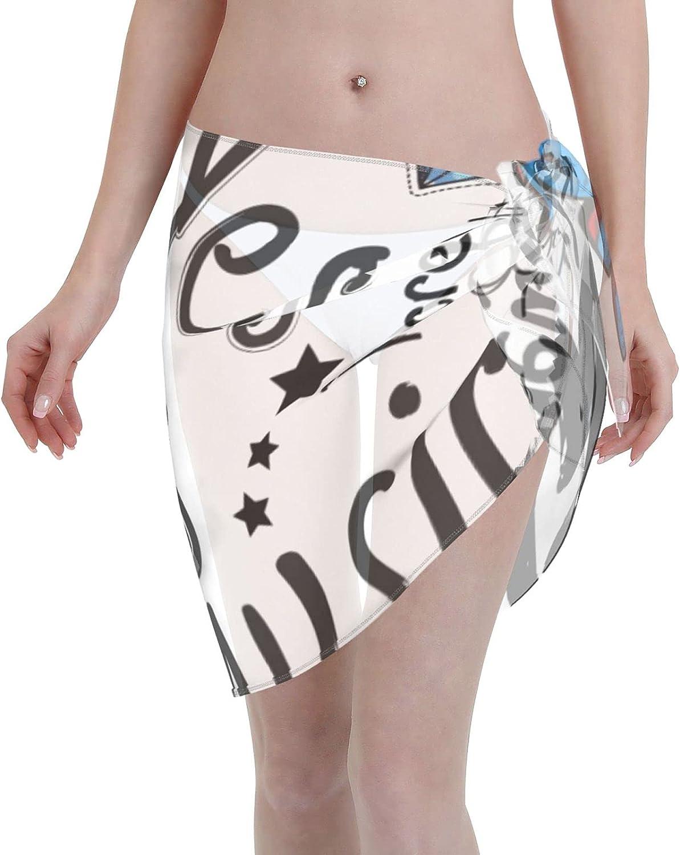 Women Short Sarongs Beach Wrap Cartoon Paris Bikini Wraps Chiffon Cover Ups for Swimwear