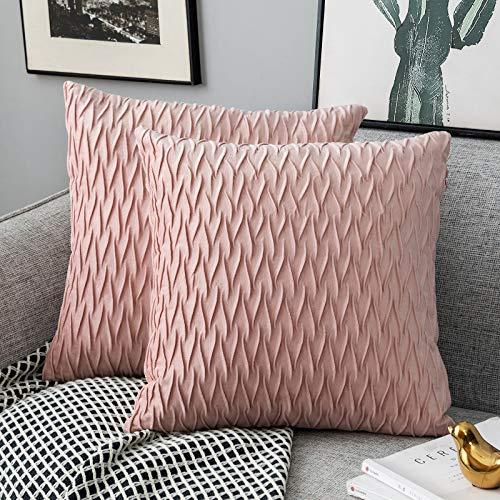 Yamonic Kissenbezüge Set Samt Soft Solid Dekorative Kissen Fall für Sofa Schlafzimmer 40cmx40cm 2er Pack für Couch Bett Sofa Stuhl Schlafzimmer Wohnzimmer, Rosa