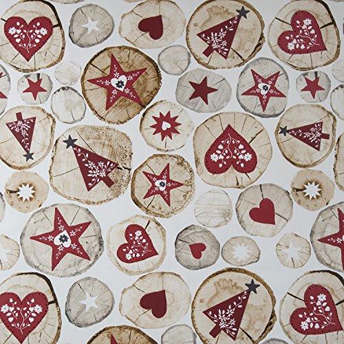 Navidad corazones y árboles Festive vinilo de PVC hule mantel de 140cm x 200cm (55'x 79) rectangular