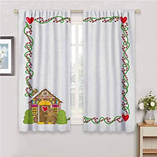 GUUVOR Kids Christmas Premium Blackout Curtains Frame Featuring Sweet Candy Canes Hearts and a Gingerbread Cookie House Kindergarten Noise Reduction Curtains W63 x L72 Inch Multicolor