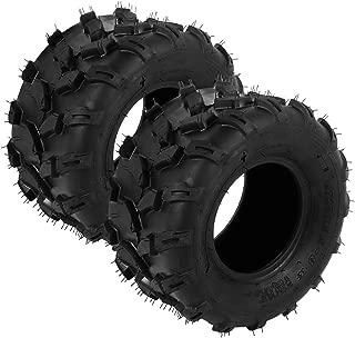 Qiilu Dual UTV ATV Tires 18X9.5-8 4PR Tubeless Tires, V Tread ATV Mud Tires, Off-Road Rubber Sport Tires Replacement for Go Kart, Golf Cart, Lawn Mower, Quad ATV, UTV (2 PCS)