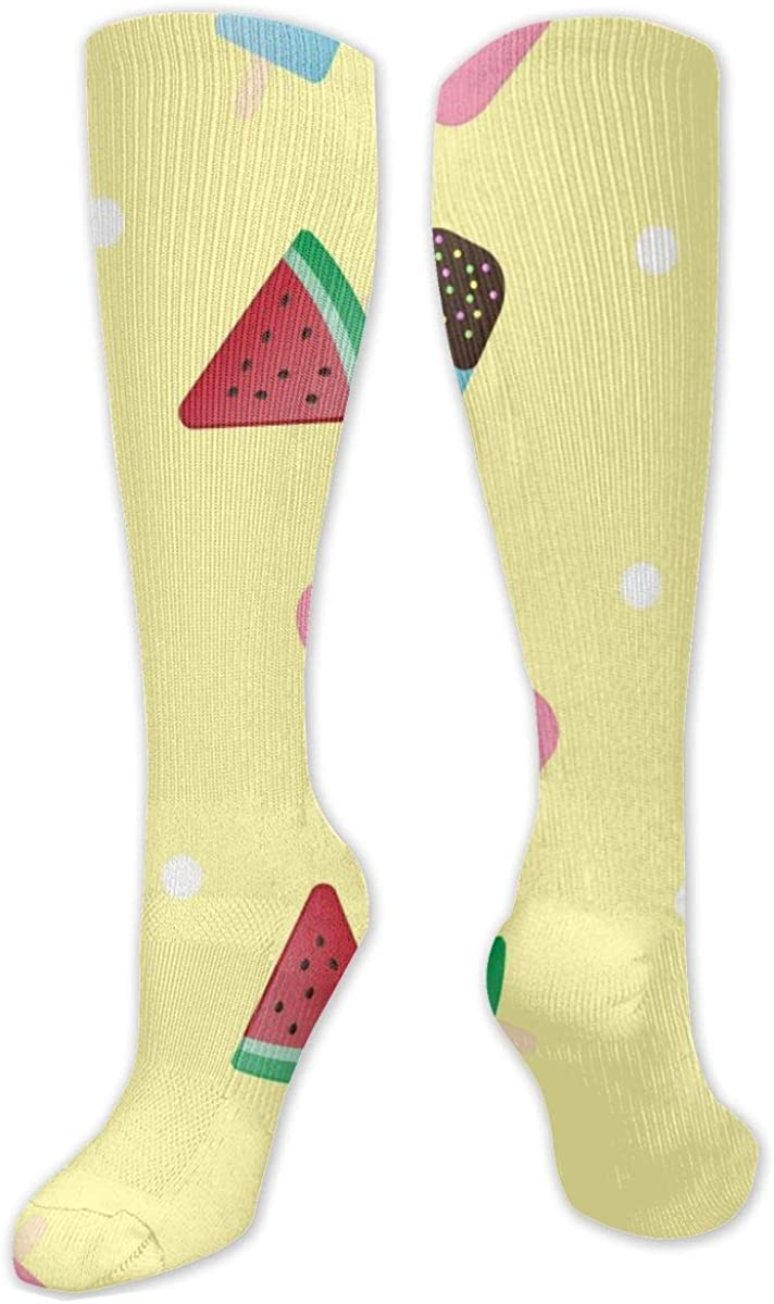 Ice Cream And Watermelon Knee High Socks Leg Warmer Dresses Long Boot Stockings For Womens Cosplay Daily Wear