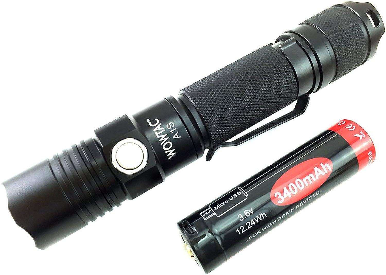 Wowtac A1S LED-Taschenlampe, Taschenformat, superhell, 1150 Lumen, Cree-LED, IPX7, wasserfest, 5 Modi, niedrig, mittelstark, Trubo, Stroboskop für Innen und Auen (New Wowtac A1S NW)