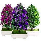 Fycooler árbol Bonsai Artificial 9.5 ', Simulación de Pino de Plantas Artificiales Ornamento Artificial en Maceta Falso de Las Plantas, Decoración Navideña Decoración de Oficina de Escritorio en Casa