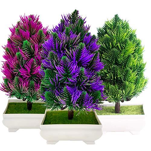 """Fycooler árbol Bonsai Artificial 9.5 """", Simulación de Pino de Plantas Artificiales Ornamento Artificial en Maceta Falso de Las Plantas, Decoración Navideña Decoración de Oficina de Escritorio en Casa"""