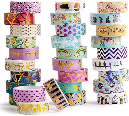 Washi Tapes Set 30 rotoli - Nastro adesivo decorativo colorato largo 15 mm per Bullet Journal, Scrapbook, Planner, Decorazione di scatole regalo