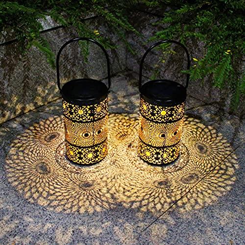 2 Piezas Farolillos Solares Exterior,Luces de Hierro Forjado de Jardin,Iluminación de caminos,Soporte...
