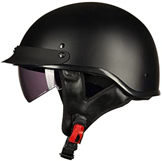 ILM Half Helmet Motorcycle Open Face Sun Visor Quick Release Buckle DOT Approved Cycling Motocross Suits Men Women (M, Matt Black)