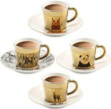 Mirage Mirror Cups Creativity Coffee Cup and Saucer Set of 4 Hand-made mirror cup with Unique design Saucers Coffee Mug, R...