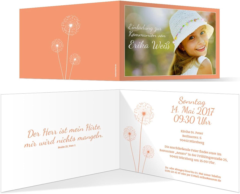 Kommunion Einladungskarten (100 Stück) - PusteBlaume in Apricot - Kommunionskarten Einladung B06XFXR9NN  | Das hochwertigste Material