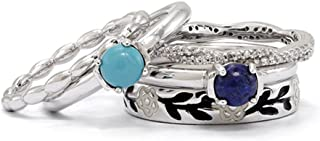 Sterling Silver, Enamel, Turquoise, Lapis & Diamond Stackable Ring Set (I3 Clarity H-I Color)
