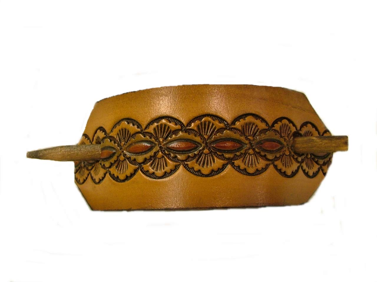 Large Leather Hair Max 86% OFF Barrette half with Stick… Unique Corn Clipped