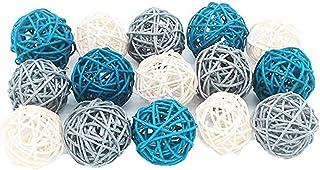 Anjing - Juego de 15 Bolas Decorativas de Mimbre de Color Azul Marino, Gris, Blanco