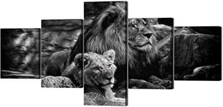 Yatsen Bridge 5 Piece Lion Picture Wall Decor Black and White Lion and Lioness Picture Printed on Canvas Modern Gallery-Wrapped Lion Painting Ready to Hang for Home and Office Decor - 50''W x 24''H