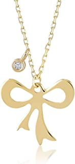 14k Real Gold 0,01 ct Diamond Ribbon Bow Tie Pendant Necklace for Women, A Perfect Surprise Gift for Her, 18 inch