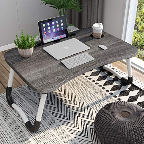 Homemaxs Laptop Desk Tray Bed Table - Foldable Portable Lap Desk Notebook Stand Reading Holder with Cup Slot for Eating Breakfast, Reading Book, Watching Movie on Bed/Couch/Sofa
