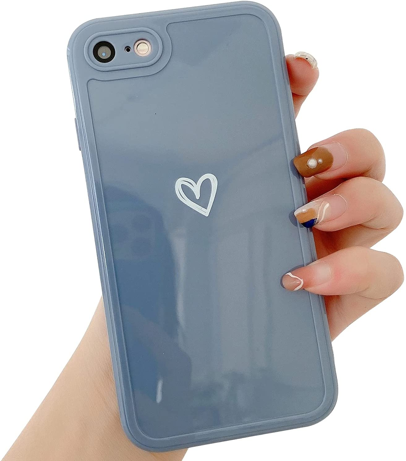 """Compatible with iPhone 7/8/SE 2020 Case for Women Girls, Cute Love Heart Pattern Soft Slim TPU Protective Bumper Phone Case for iPhone 7/8/SE 2020 4.7""""-Blue Gray"""