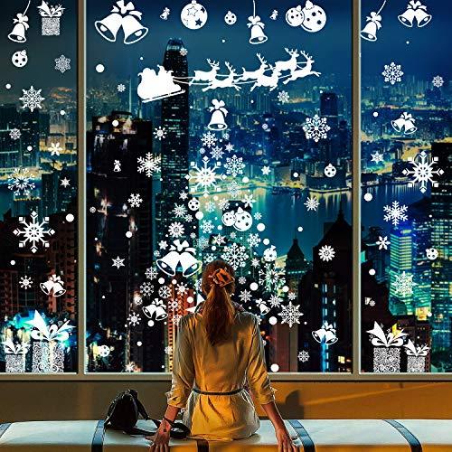 CMTOP 214 PCS Schneeflocke Fensteraufkleber Weihnachten Fensterbild Abnehmbare Fensterdeko Statisch Haftende PVC Aufkleber Winter Dekoration Netter Elch