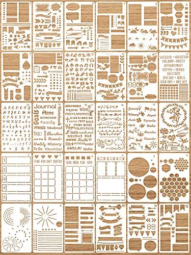 Bullet Journal Stencil Set (Plastic, 30 Pieces)