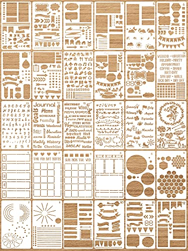 30 Pieces Journal Stencils Plastic Planner Stencils Ultimate Productivity Journal Stencils Set DIY Drawing Templates for Journal Notebook Diary Scrapbook Decor Supplies, 4 x 7 Inch