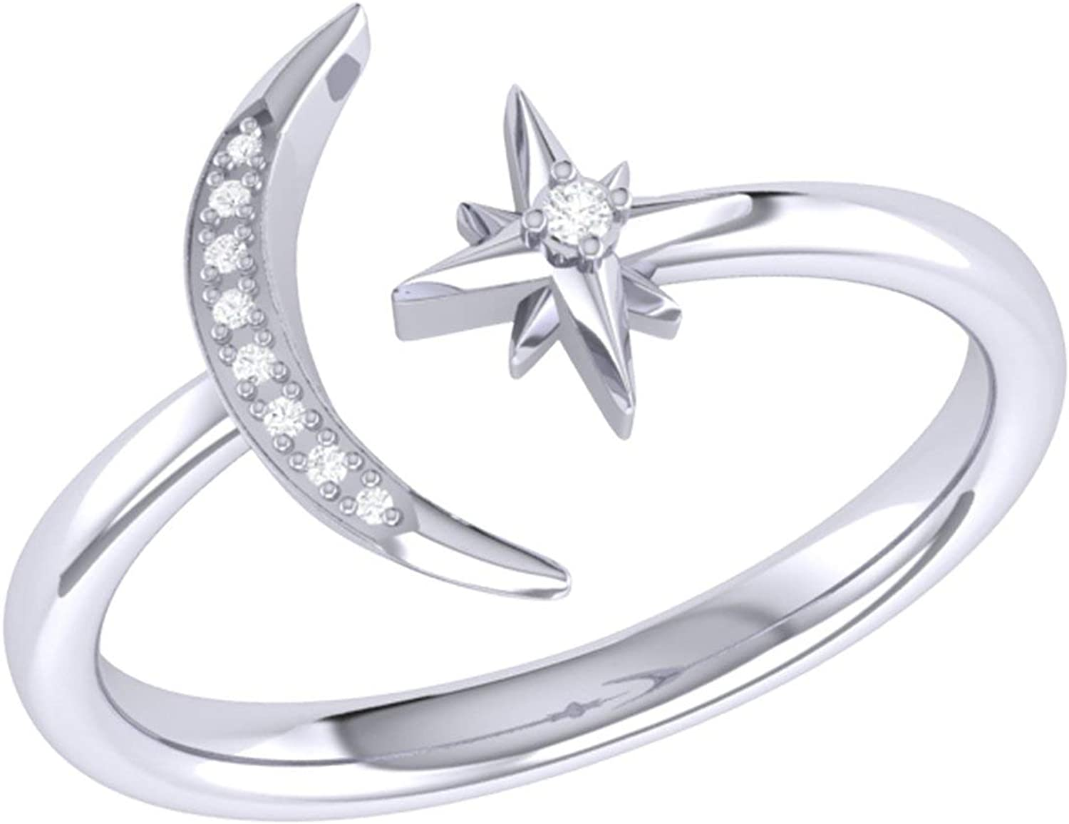 LuvMyJewelry Dreamer Starlit Moon Diamond in Silve Dealing full price reduction Sterling Year-end gift Ring