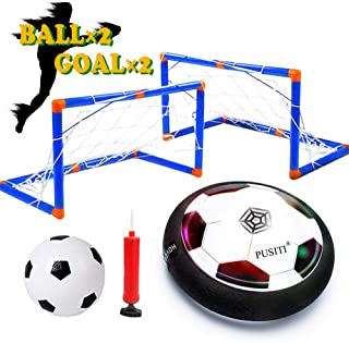 PUSITI Kids Hover Soccer Ball Set with 2 Goals Foam Bumper Air Ball with LED Light and Music for Boys and Girls Age 3 4 5 and Up Sport Toys for Teens 6-12 Years Indoor and Outdoor Game for Children