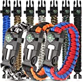 HNYYZL 10 Pack Paracord Bracelet Kit Outdoor Survival Bracelet Camping Hiking Gear with Co...