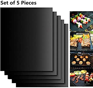 BBQ Grill Mat, 5 bbq Grill Mats Non Stick Reusable and Baking Mesh FDA-Certificated for Indoor Outdoor BBQ Works on Gas Ch...