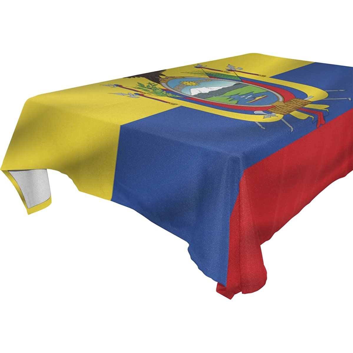 Ecuador Flag 100% Polyester Tablecloth Table Cover for Dinner Parties Picnic Kitchen Home Decor, Multi