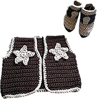 Newborn Baby Photography Prop Crochet Knitted Cowboy Vest Shoes
