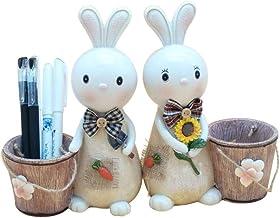LJBH Resin Storage Box Garden Pen Holder Creative Fashion Desktop Decoration Cute Rabbit Cartoon Piggy Bank Literary Gift ...