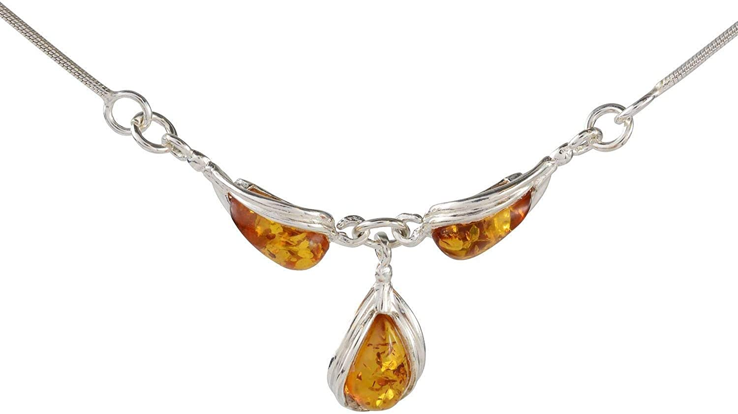 Same day shipping HolidayGiftShops Sterling Silver and Amber Boston Mall Honey Pear-Sha Baltic
