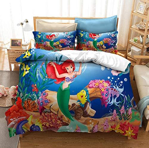 ropa de cama con estampado de sirena para niños, funda nórdica y funda de almohada de dibujos animados en 3D, decoración de dormitorio suave y cómoda para niñas y adolescentes-A_210x210cm (3 pcs)