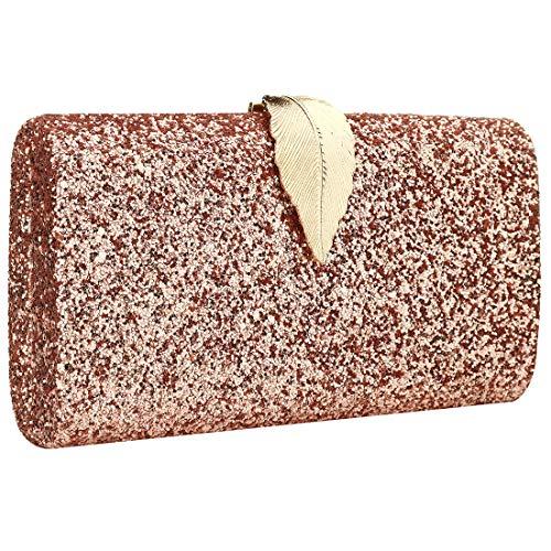 LIRENSHIGE Bolso de mano de piel con purpurina para mujer, diseño de hojas, color plateado, dorado, negro, rosa, color Rosa, talla Talla única