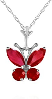 Galaxy Gold 14K Solid White Gold Butterfly Necklace with 0.80 CTW Ruby