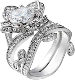 Yiwanjia Lucky Flower Vine Leaf Shape Ring Engagement Wedding Anniversary Party Ring