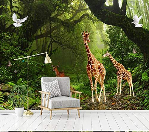 LONGYUCHEN Tapete Gewohnheit des Wandbildes 3D,Giraffenmuster Für Wohnzimmer Tv Tapete Sofa Hintergrund Dekor Seidenwandbild, 290 cm (H) × 480 cm (B)