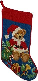 Peking Handicraft Teddy Bear with Presents Needlepoint Christmas Stocking, Wool, 11 Inch x 18 Inch