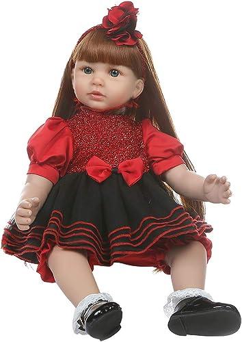 bulingLU - 60cm   Realistische Reborn Puppe Weiße Silikon Vinyl Neugeborenen Langes Haar mädchen Lebensechte Handgemachte Spielzeug Kinder Geburtstag