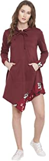 Lady Stark Women's Asymetric Hooded Dress in Red Color with Front Kangaroo Pocket