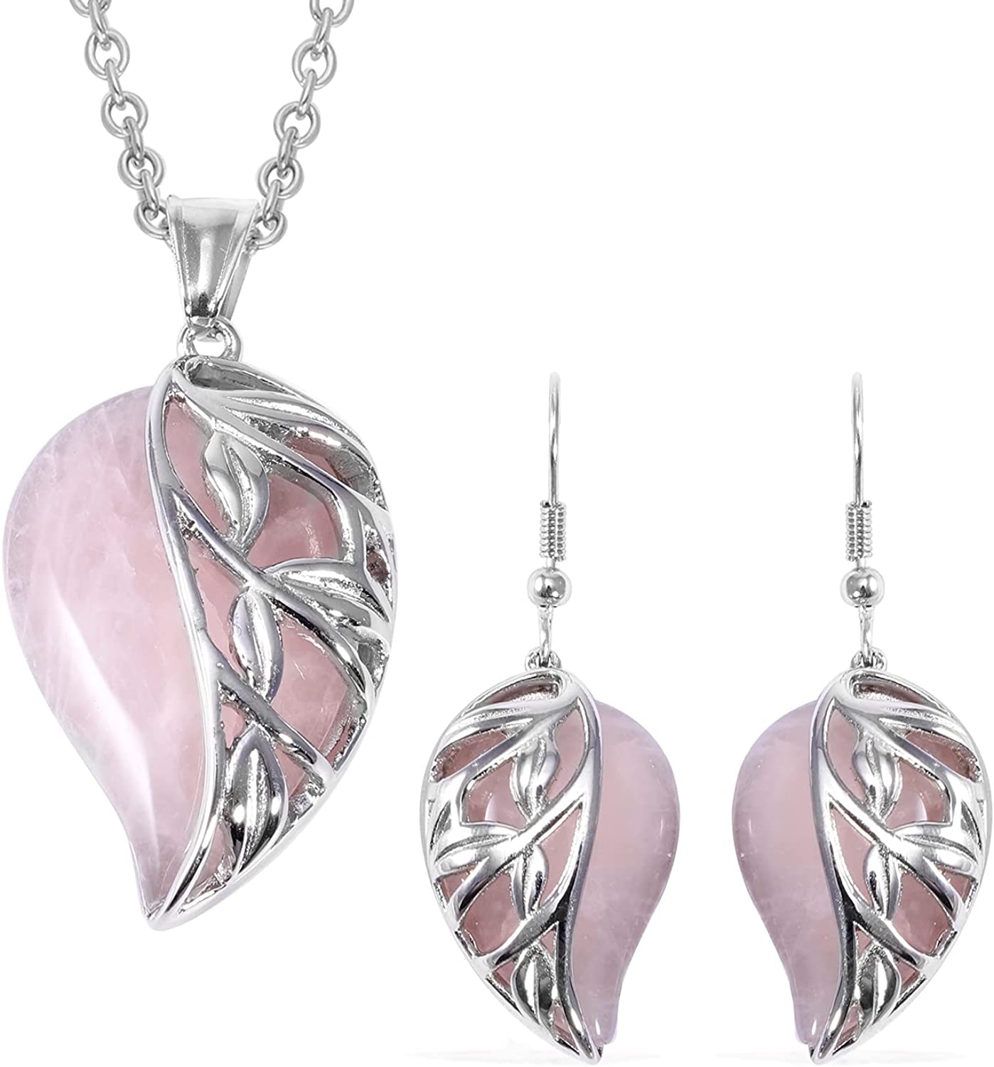 Shop LC Stainless Steel Leaf Earrings Lightweight Beaded Dainty Necklace Pendant Set Bohemian Vintage Crystal Delicate Jewelry for Women Size 20