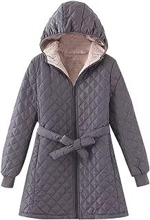 Womens Plush Jacket Regular Cotton Coat Zipper Solid Color Warm Bunch Waist Fleece Outwear DongDong