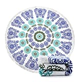 Ricdecor Indian Mandala Microfiber Large Round Beach Blanket with...