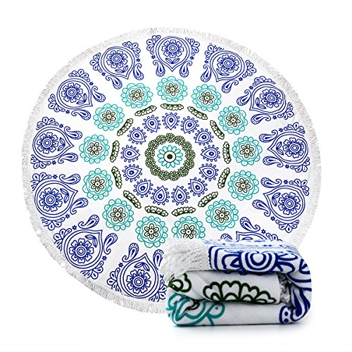 Ricdecor Indian Mandala Microfiber Large Round Beach Blanket with Tassels Ultra Soft Super Water Absorbent Multi-Purpose Towel 59...