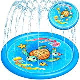 "Splash Pad Water Toy Sprinkler Mat Pool for Kids Toddlers 68"" Outdoor Summer Toys Kiddie Baby Swimming Pools - Fun Backyard Trampoline Lawn Games Infant Wading Pool Slide, Water Play for Ages 1 - 12"