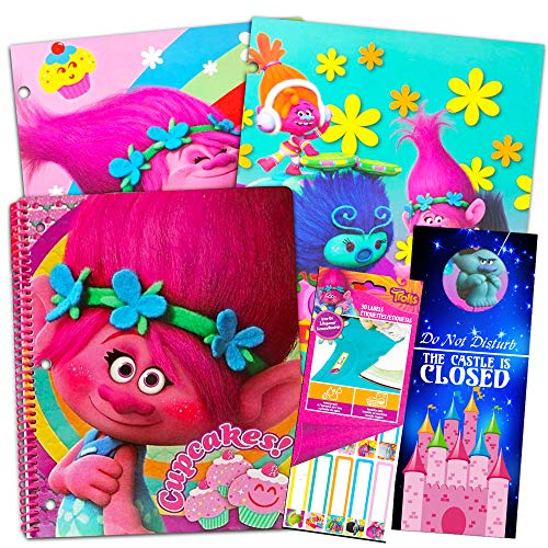 UPD Trolls School Supplies Value Pack -- Bundle Includes 2 Folders, Notebook, Stickers and Bookmark