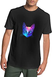 Man Short Sleeve Funny Galaxy Cat Breathable T-Shirt for Daily Use