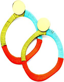 Uniklook Multi Color Metal Disc Thread Wrapped Wavy Oval Hoop Gold Earrings Women's Statement Jewelry